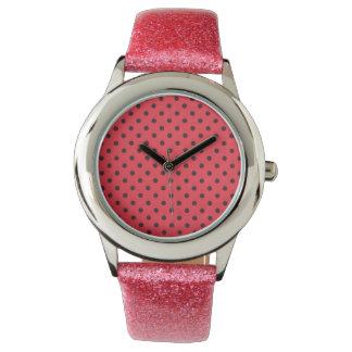 relógio cor-de-rosa do brilho com design