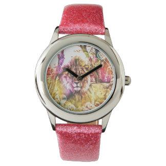 Relógio cor-de-rosa do leão do brilho