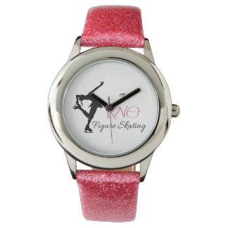 Relógio cor-de-rosa do patinagem artística da
