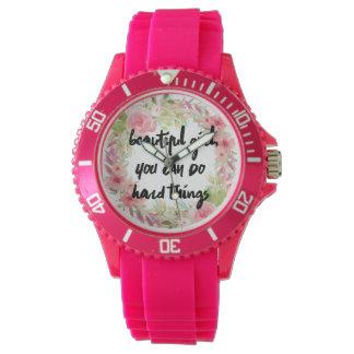 Relógio cor-de-rosa do poder da menina dos rosas