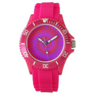 Relógio cor-de-rosa do silicone com a cara de néon