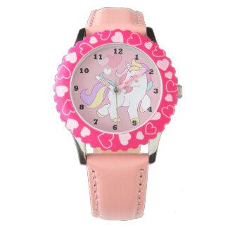 Relógio cor-de-rosa do unicórnio das meninas