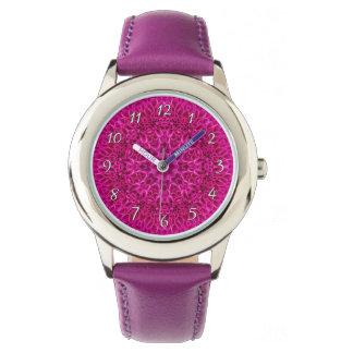 Relógio cor-de-rosa dos miúdos    do vintage do