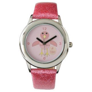 Relógio cor-de-rosa feito sob encomenda dos miúdos