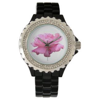Relógio cor-de-rosa lindo do cristal de rocha das