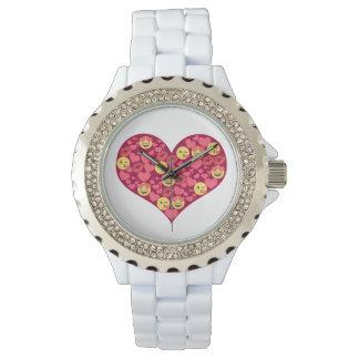 Relógio Coração bonito de Emoji dos lábios do beijo do