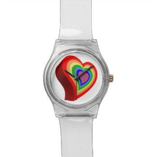 Relógio Coração colorido alegre