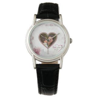 Relógio Coração feliz do dia das mães personalizado