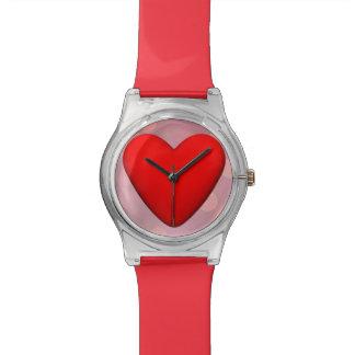 Relogio Coração vermelho - 3D rendem