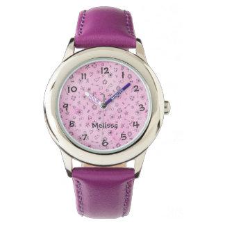 Relógio Corações e estrelas femininos cor-de-rosa do teste