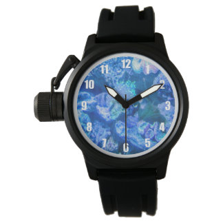 Relógio coral azul elétrico
