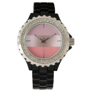 Relógio Coral cor-de-rosa do rosa do ouro do pintinho