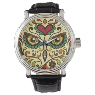Relógio Coruja do crânio do açúcar - design do tatuagem