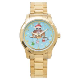 Relógio Coruja do Feliz Natal