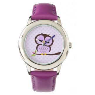 Relógio Coruja roxa bonito