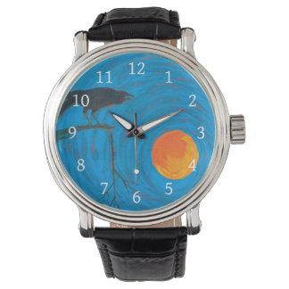 Relógio Corvo e Lua cheia