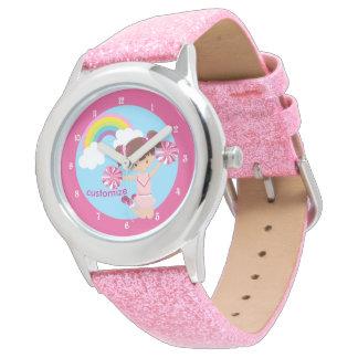 Relógio Costume bonito do cheerleader cor-de-rosa