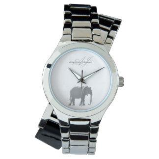 Relógio Costume elegante do monograma elegante de prata do