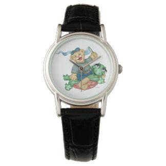 Relógio Couro preto clássico dos DESENHOS ANIMADOS do URSO
