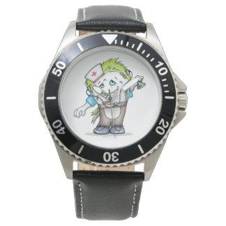 Relógio Couro preto de aço inoxidável do MONSTRO do