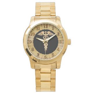 Relógio Crachá brilhante do alerta da silhueta do ouro