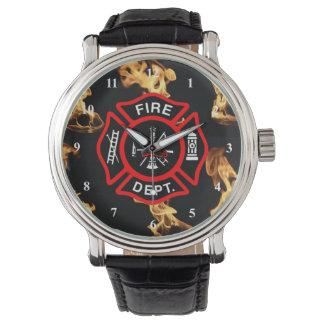 Relógio Crachá do departamento do fogo da cruz maltesa |