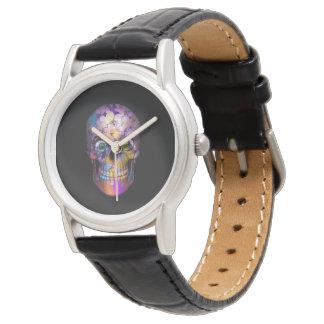 Relógio Crânio floral surpreendente A