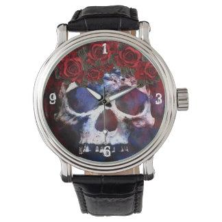 Relógio Crânio vermelho, branco, e azul