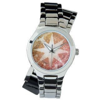 Relógio Cristal de rocha alaranjado vermelho de pedra