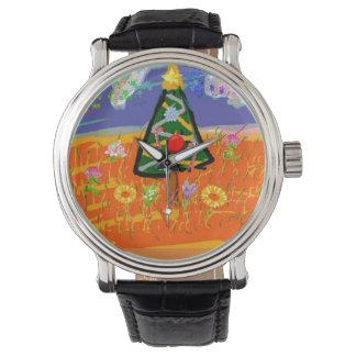 Relógio cristão cura da árvore de Natal da igreja