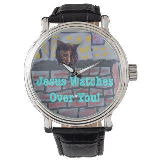 Relógio cristão do gato de Jesus da igreja cura da