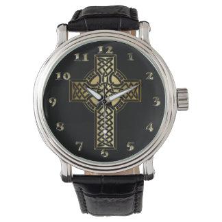 Relógio Cruz celta do nó no ouro e no preto