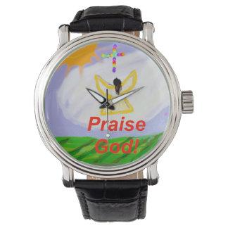 Relógio cura do anjo do deus do elogio da igreja