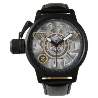 Relógio da correia de couro do preto do protetor