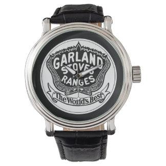 Relógio da correia de couro do preto do vintage