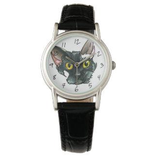 Relógio da correia de couro do preto do vintage do