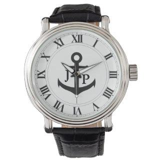 Relógio da correia de couro do vintage dos homens