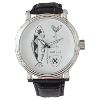 Relógio da correia de couro do vintage dos peixes