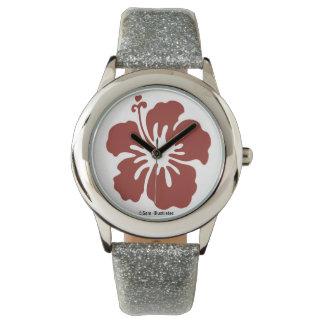 Relógio da flor do hibiscus dos miúdos