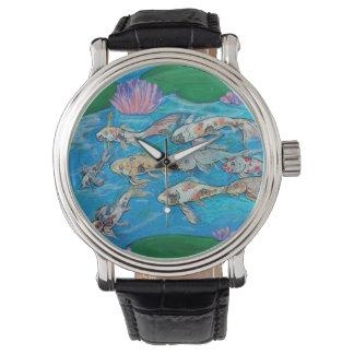 Relógio da lagoa de peixes de Koi