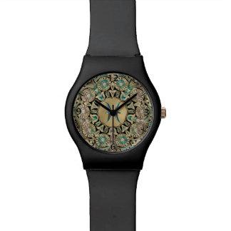 Relógio da mandala do laço do ouro dos peixes