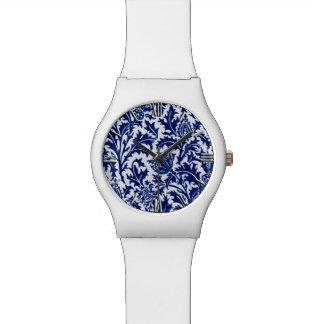 Relógio Damasco, azuis cobaltos & branco do cardo de