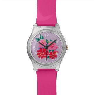 Relógio das flores do hibiscus pelo artista Joanne