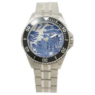 Relógio de aço inoxidável com a cara azul do