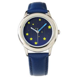 Relógio de aço inoxidável da noite estrelado