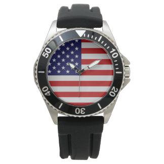 Relógio de aço inoxidável do bracelete da bandeira