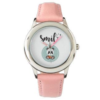 Relógio de aço inoxidável dos miúdos da panda do