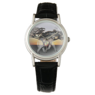 Relógio de couro clássico das senhoras da dança de