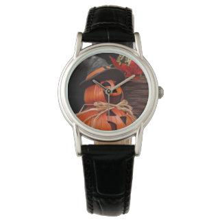 Relógio de couro preto clássico do homem da