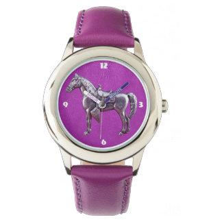 Relógio de couro roxo do CAVALO OCIDENTAL DE PRATA